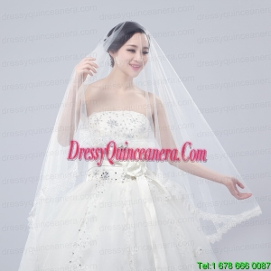 One-Tier Drop Veil Scalloped Edge Angle Cut Wedding Veils