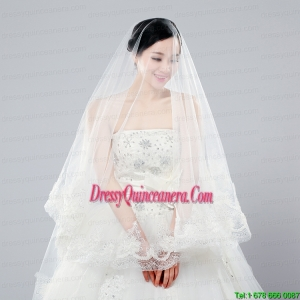 Two-Tier Drop Veil Tulle Lace Appliques Edge Wedding Veils