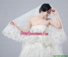 Romantic Lave Edge White Two-Tier Fingertip Bridal Veils