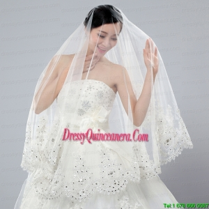 2014 Cheap Two-Tier White Fingertip Veil with Lace Edge