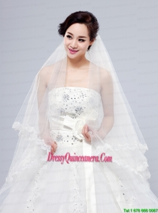 2014 Simple Four-Tier Bridal Veils with Lace Appliques Edge