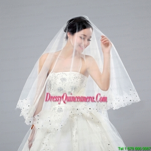 One-Tier Cut Edge White Classic Chapel Bridal Veils