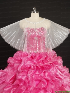 White Sector Scoop Organza Shawl with Beading