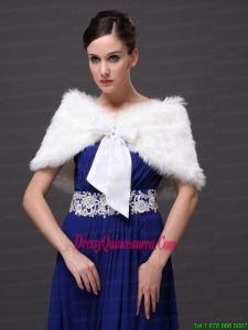 High Quality Rabbit Fur Special Occasion / Wedding Shawl In Ivory With V-neck