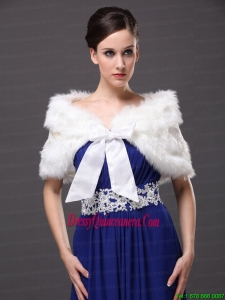 Bowknot V Neck Faux Fur Formal Occasions Wraps / Shawls