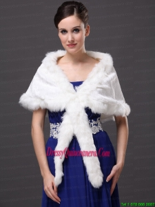Faux Fur Elegant V Neck White Faux Fur Wedding Party Wedding Wrap