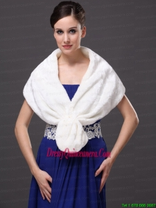 Faux Fur Fashionable V Neck White Wedding Party and Prom or Cocktail Wedding Wrap