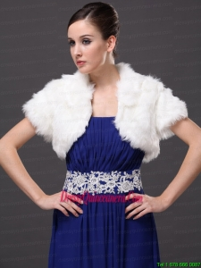 Faux Fur V Neck Fashionable Wedding Short Sleeves Prom Jacket White