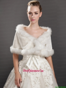 Modest Faux Fur V Neck Wrap / Shawl