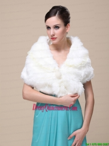 Top Selling Faux Fur Wedding Shawl With Lace V Leck