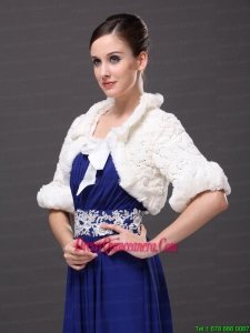 White Faux Fur Bowknot Fold Over Collar Prom Jacket