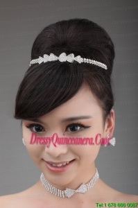 Alloy With Rhinestone Bowknot Jewelry Set Including Necklace Crown And Earrings