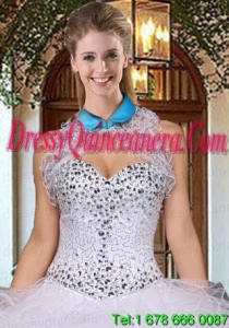 Exquisite Organza Blue Sleeveless Quinceanera Jacket With Ruffles