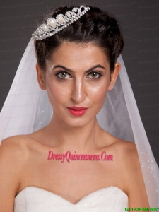 Lovely Tiara With Beading and Drop Pearl Decorate