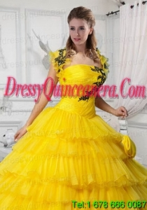 Beautiful Yellow Tulle Quinceanera Jacket with Appliques and Ruffles