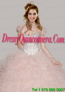 Best Baby Pink Organza Open Front Quinceanera Jacket with Ruffles and Beading