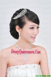Elegant Alloy With Rhinestone Ladies Necklace and Headpiece