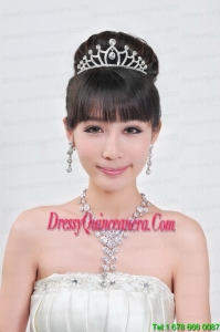Elegant Alloy With Rhinestone Ladies Necklace and Tiara