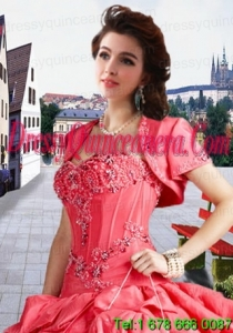 Fashionable Taffeta Appliques and Beading Watermelon Red Jacket For a Quinceanera