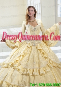 Gorgeous Light Yellow Long Sleeves Quinceanera Jacket With Ruffles and Beading
