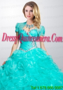 Gorgeous Turquoise Organza Quinceanera Jacket with Ruffles and Beading
