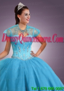 Newest Baby Blue Tulle short Quinceanera Jacket with Beading and Sequins