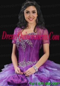Romantic Purple Tulle Quinceanera Jacket with Open Front
