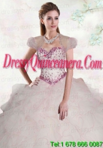 Romantic White Organza Quinceanera Jacket With Beading and Ruffles