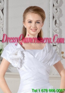 Beautiful White Short Sleeves Wedding Jacket With Hand Made Flowers
