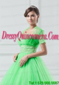 Exquisite Open Front Organza Spring Green Quinceanera Jacket For 2014
