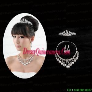 Gorgeous Dazzling Rhinestone Jewelry Set Necklace And Tiara
