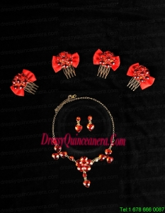 Heart In Heart Red Artistic Jewelry Set Including Necklace And Headpiece