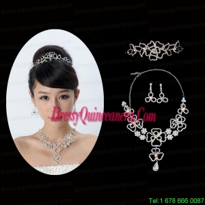 Intensive Flower Dazzling Crystal Jewelry Set Including Necklace And Tiara