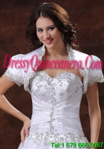 Short Sleeves White Quinceanera Jacket With Beading