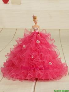 2015 Organza Bowknot Hot Pink Barbie Doll Dress