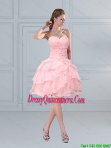 2015 Beautiful Baby Pink Sweetheart Beaded Dama Dresses with Ruffled Layers