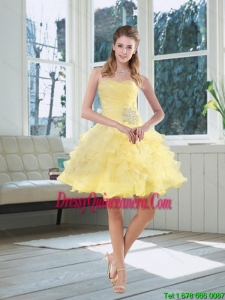 2015 Beautiful Light Yellow Beading Puffy Dama Dresses with Sweetheart