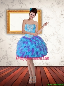 2015 Beautiful Sweetheart Beading Ruffled Layers Short Dama Dresses in Multi Color