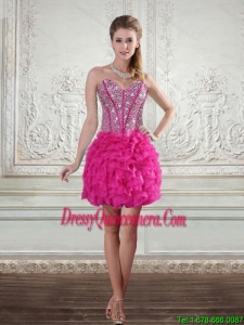 2015 Beautiful Sweetheart Hot Pink Dama Dresses with Beading and Ruffled Layers