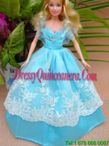 Baby Blue and Off The Shoulder Ball Gown for Barbie Doll