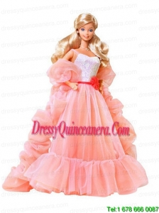 Beading Watermelon Red Organza Princess Barbie Doll Dress