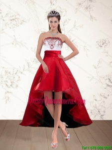 Beautiful White And Wine Red High Low Strapless Dama Dresses with Embroidery