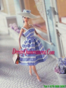 Elegant Embroidery Gown with Straps Tea-length Made to Fit the Barbie Doll
