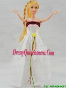 Elegant White Gown With Hand Made Flowers Party Clothes Fashion Dress for Noble Barbie