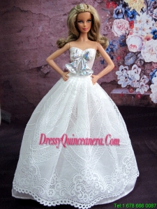 Elegant White Gown With White Lace and Bowknot Made To Fit The Barbie Doll