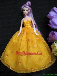 Embroidery Taffeta and Organza Yellow Ball Gown Barbie Doll Dress