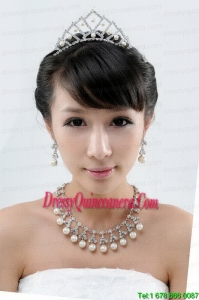 Imitation Pearl Alloy Jewelry Sets Including Necklace and Earings