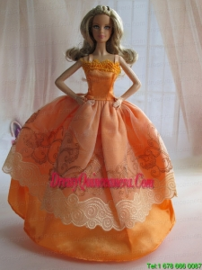 Lovely Handmade Orange Beading Ball Gown Barbie Doll Dress