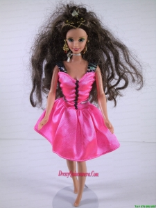 Lovely Handmade Pink Dress With Knee Length Dress for Noble Barbie