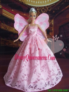 Lovely Princess Handmade Baby Pink Straps Party Clothes Fashion Dress for Noble Barbie